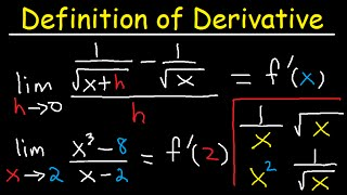 Limit Definition of Derivative Square Root, Fractions, 1/sqrt(x), Examples  - Calculus