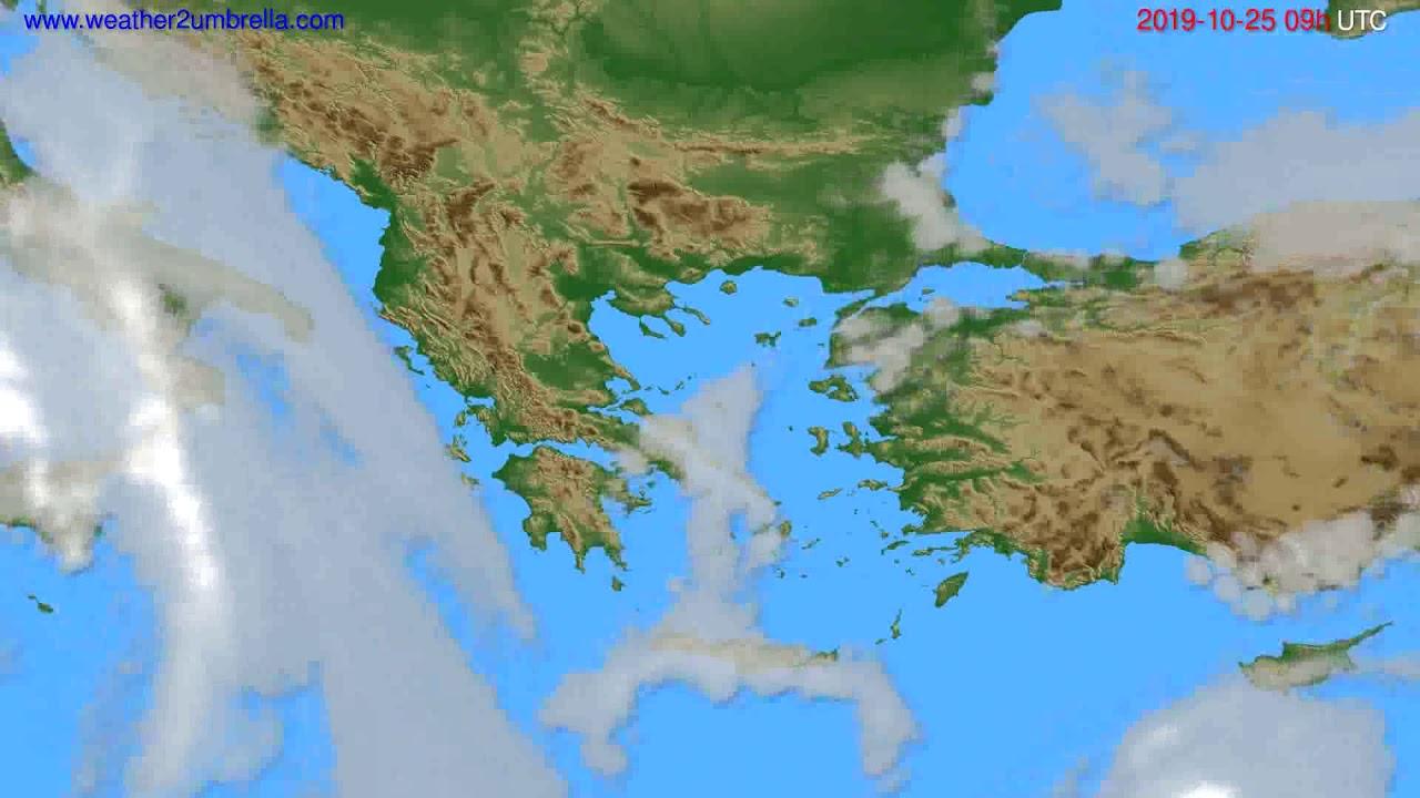 Cloud forecast Greece // modelrun: 12h UTC 2019-10-23