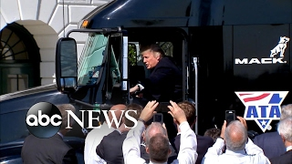 Donald Trump shows off his trucking skills