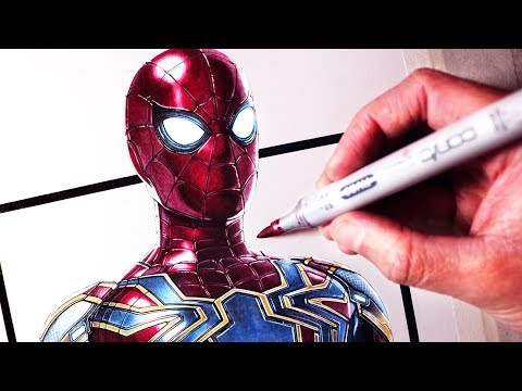 Let's Draw SPIDER-MAN - IRON SPIDER SUIT - FAN ART FRIDAY