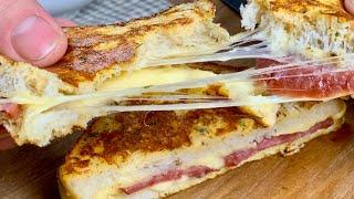 Супер завтрак за 10 минут! Вкусные и сытные горячие бутерброды на сковороде