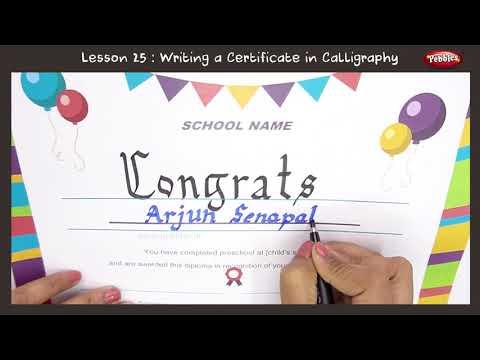 Certificate Writing in Calligraphy | Beautiful Handwriting For Kids