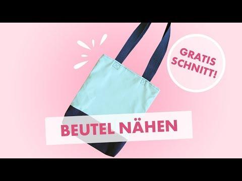 Beutel nähen - Stofftasche mit Henkeln und Futter (gratis Schnittmuster)