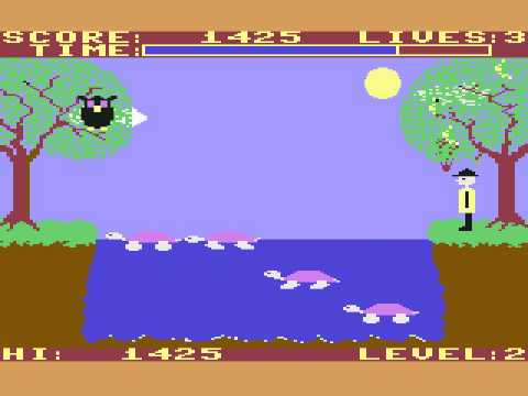 Screenshot from YouTube Of the Commodore 64 game Purple Turtles