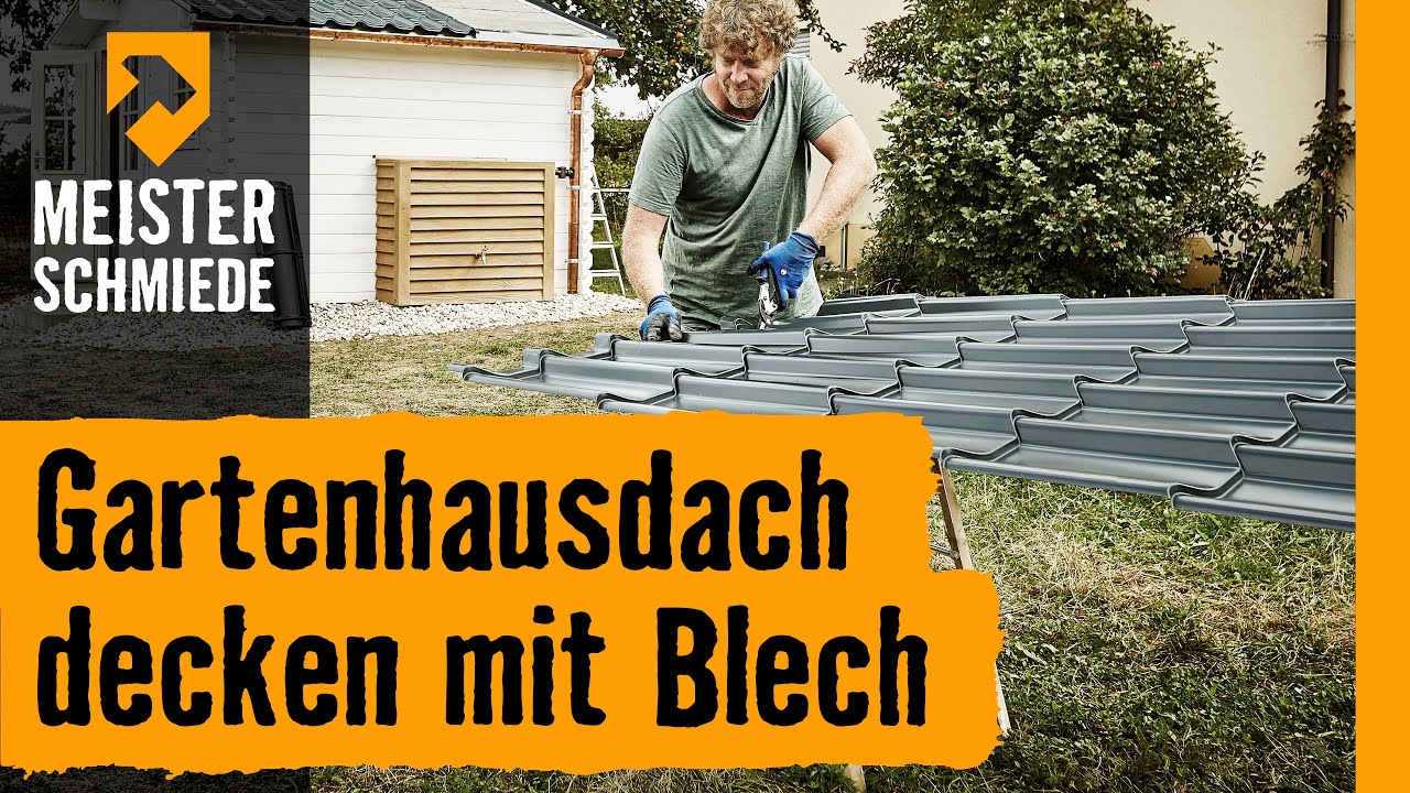Gartenhausdach decken mit Blech title=