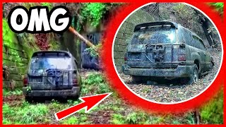 Toyota Land Cruiser been abandoned in the forest for 15 years, all covered with moss