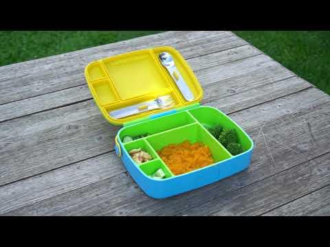 Munchkin контейнер Lunch™ с делениями для хранения питания, ложкой и  вилкой, с 18 мес., желтый