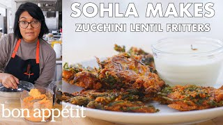 Sohla Makes Red Lentil Zucchini Fritters | From The Test Kitchen | Bon Appétit