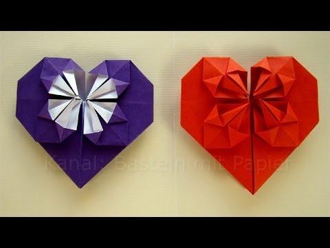 Origami Herz falten - Basteln mit Papier - DIY Geschenkideen Geburtstag / Valentinstag selber machen