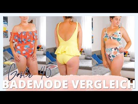 GRÖßE 40 BADEMODE VERGLEICH | Bikinis & Badeanzüge | #kleinundkurvig