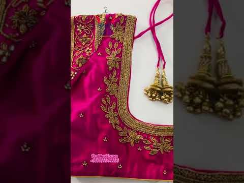 """<p style=""""color: red"""">Video : </p>Pink beads maggam work blouse designs / prabhablouses / maggamwork 2021-07-28"""