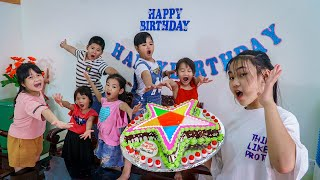 Kids Go To School | Day Birthday Of Chuns Friends And Children Make a Star-shaped Birthday Cake