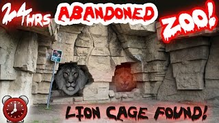 (WEAPONS FOUND) 24 HOUR OVERNIGHT CHALLENGE ABANDONED ZOO // SCARY OVERNIGHT CHALLENGE IN LION CAGE!