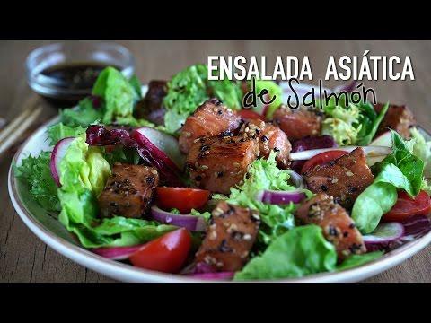 Ensaladas Asiáticas: Ensalada asiática de salmón  - Asian Style Salmon Salad Recipe
