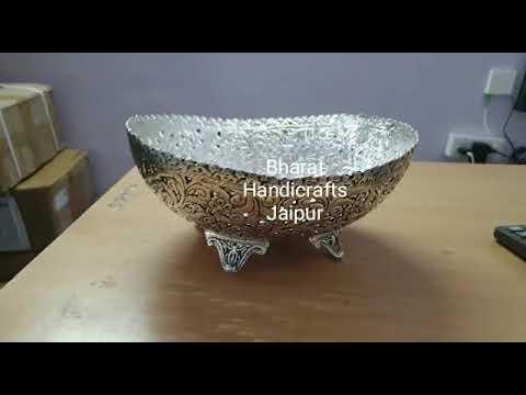 Metal Oxidized Oval Bowl