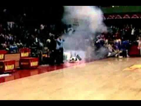 Grenade thrown onto basketball court during game