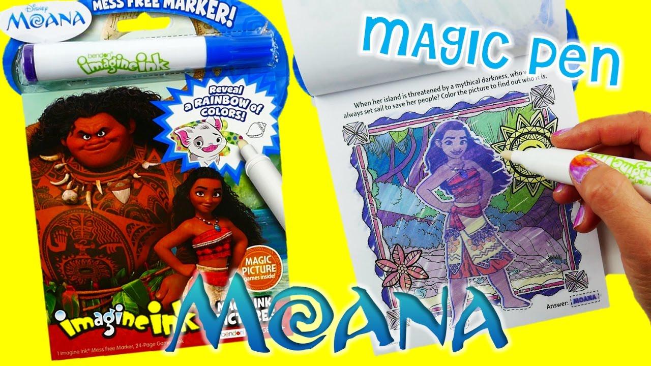 Disney Moana Movie Imagine Ink Coloring Book Rainbow Color Pen Surprise  | Evies Toy House