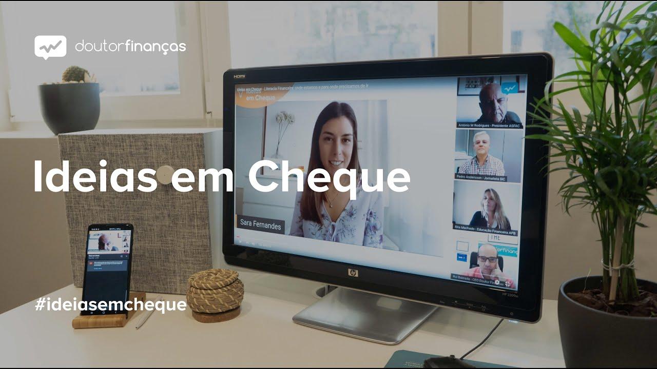Imagem de um smartphone onde se vê o programa Ideias em Cheque, organizado pelo Doutor Finanças, sobre literacia financeira