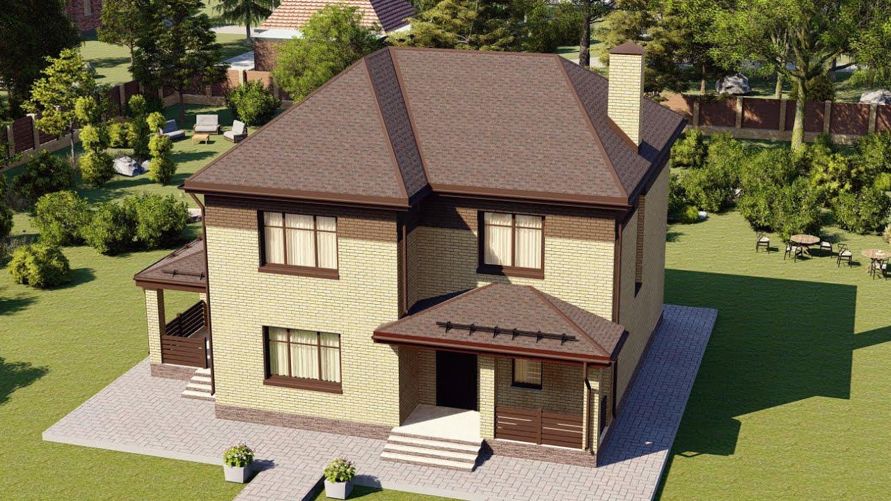 Проект дома 9х9 м из газобетонных блоков с террасой 147 м2