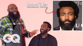 Childish Gambino's Natural Hair with a Part Haircut Recreated by a Master Barber   GQ