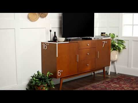 Video for 60-Inch Mid Century Modern Acorn Wood TV Stand