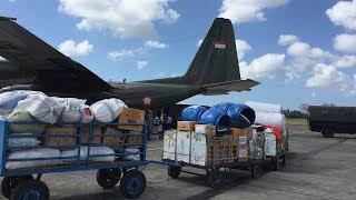 13 Ton Bantuan untuk Korban Gempa Lombok Dikirim dari Bali Gunakan Pesawat Hercules