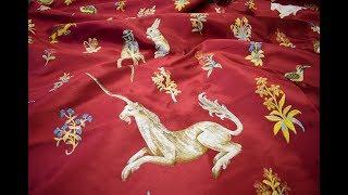 Королевский жаккард-гобелен роскошный с вышивкой из растений и животных