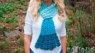 DIY Tutorial - Crochet Mermaid Tail Scarf - Lace Shell Stitch Lacy Scarf Bufanda