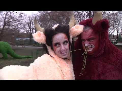 Директор Одеського зоопарку в костюмі бика привітав українців з Новим роком