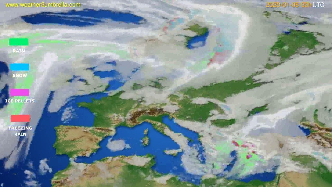 Precipitation forecast Europe // modelrun: 00h UTC 2020-01-05