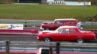 preview picture of video 'Ubly Dragway 55 chevy wagon shadow maker Vs. Dodge'