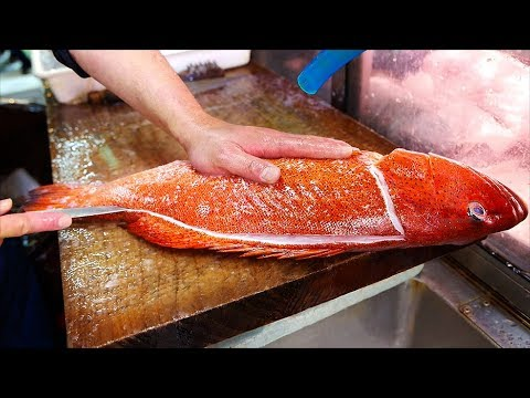Japanese Street Food - RED SPOTTED GROUPER Garlic Olive Oil Okinawa Seafood Japan
