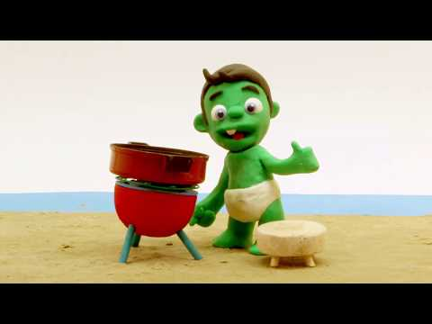 BBQ Superhero Play Doh Stop motion cartoons