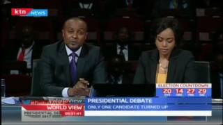 The only presidential running mate who showed up for the debate, Muthiora Kariara