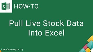 Pull Live Stock Data in Excel   Excel Tutorial