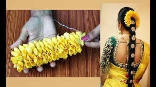 Bridal rose petals jadai veni making | how to make bridal fresh flower jadai veni