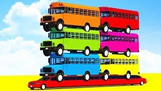 FUN LEARN COLORS SCHOOL Bus on LONG CARS & SUPERHEROES Video Spiderman Cartoon for Kids Children