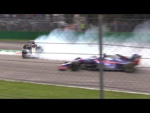Grosjean Huge Spin+Vettel & Stroll Collision Aftermath-F1 Italian GP 2019