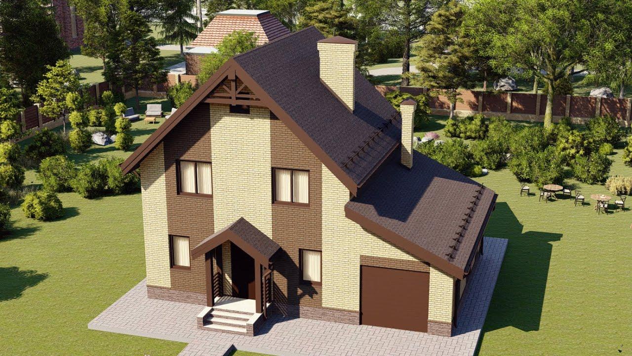 Проект мансардного дома с гаражом 129 м2