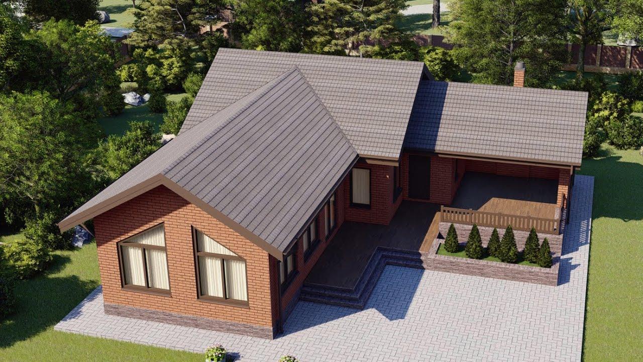 Проект одноэтажного дома 110 м2 с бассейном