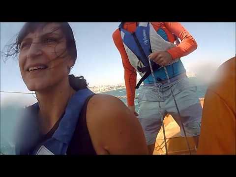 Goat Island skiff Athens Greece 30 knots Northern wind