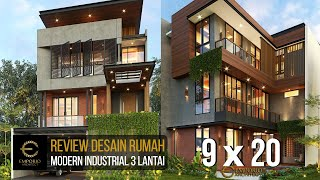Video Desain Rumah Modern Industrial 3 Lantai Bapak Fadil di  Tangerang Selatan, Banten