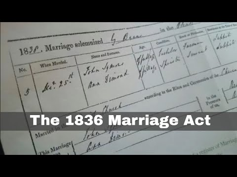 17th August 1836: Parliament passes the 1836 Marriage Act