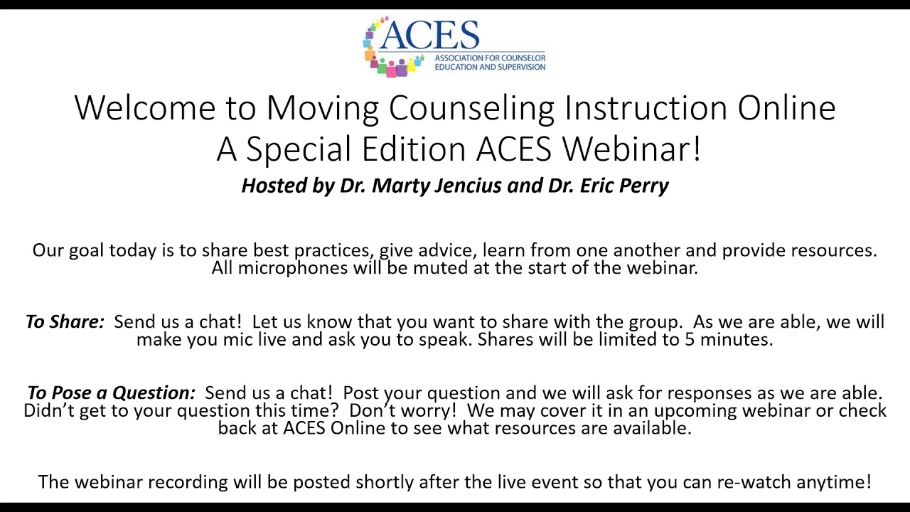 Moving Counseling Instruction Online - 1 of 4