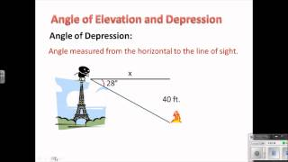 Geometry Lesson 8.4 Angle Of Elevation And Depression V3