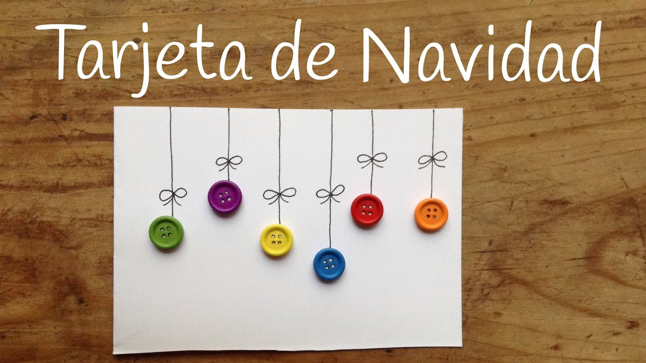 Tarjetas navideñas originales para hacer con niños, con botones de colores