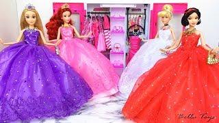 💖Barbie Doll Dresses💖Disney Princess Dress Up💖Cinderella Rapunzel Snow White Ariel Little Mermaid