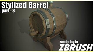 Stylized Metal sculpting in Zbrush 2018 - Stylized Barrel Part - 3