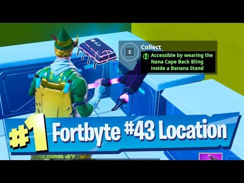 Fortnite Fortbyte #43 Location - Accessible by wearing the Nana Cape Back Bling inside Banana Stand