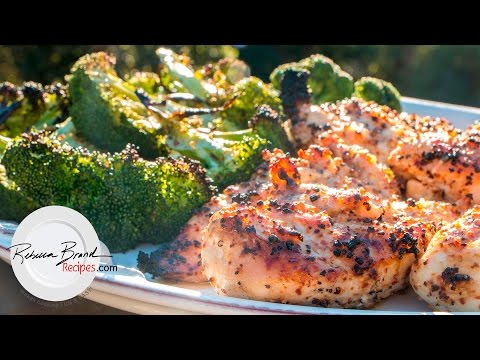 Video Grilled Chicken Breast Dinner Recipe with Grilled Broccoli  Juicy Recipe